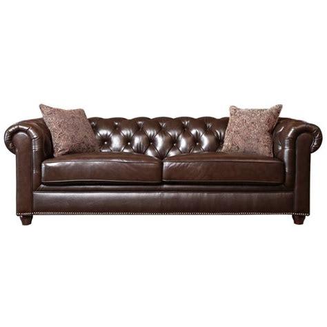 abbyson leather sofa abbyson living alexandra leather sofa in brown sk 2326 brn 3