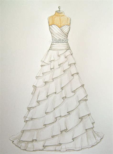 wedding dresses drawings custom wedding dress illustration sketch on dress form