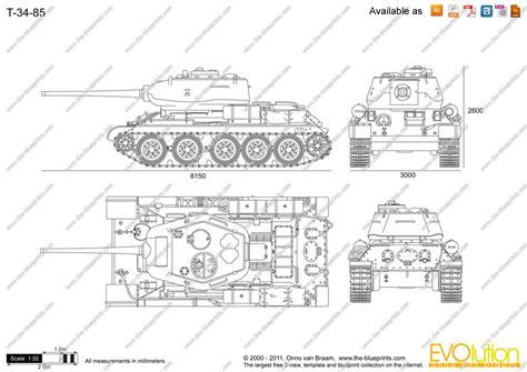 The-Blueprints.com - Vector Drawing - T-34-85 T 34 Blueprints