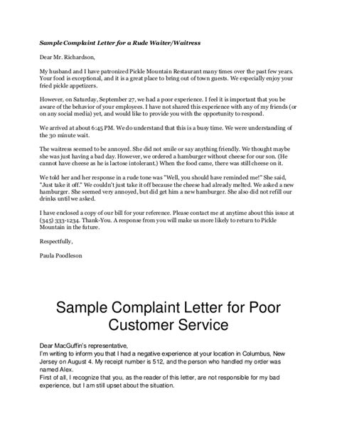Complaint Letter For Poor Food Service Complaint Letters