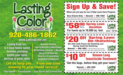 lasting color lawn care coupons for fox cities appleton