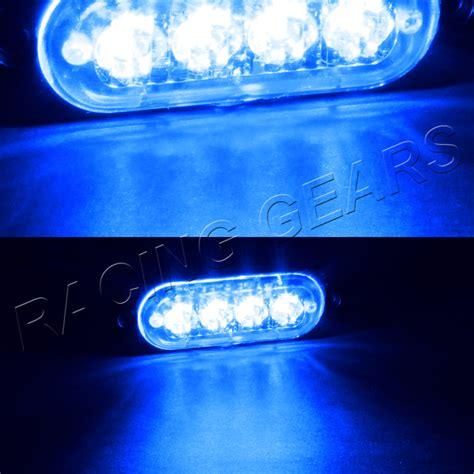 8 Led Blue Car Emergency Beacon Hazard Warning Flash Blue Led Strobe Light Bar