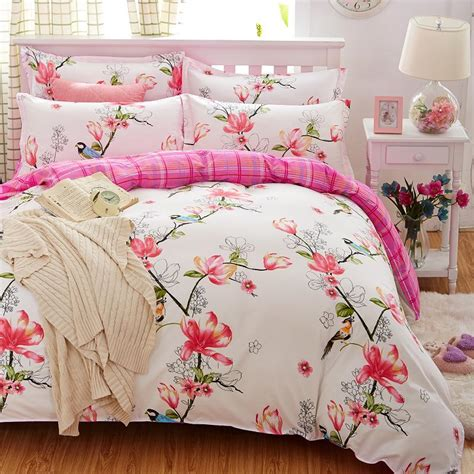 Flower Bed Sets Birds Blooms Bedding Set 2017 Flower Bed Linens 4pcs Set 5 Size Duvet Cover Set Pastoral Bed