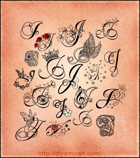 tattoo fonts initials lettering j poster tattoos