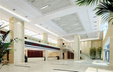Building Ceiling Design Ceiling Pillars And Stairs Office Building Lobby