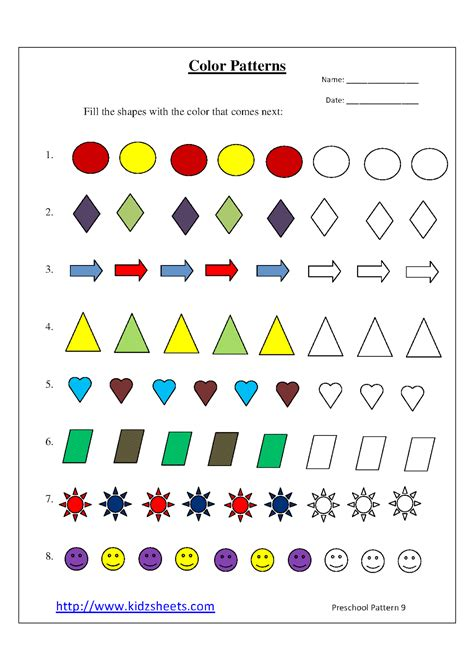 pattern kindergarten video free printable worksheets for preschoolers about colors
