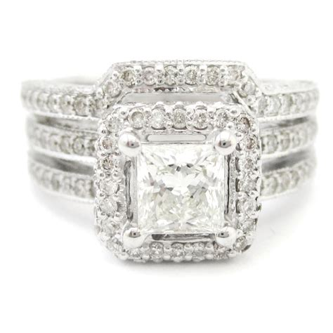 princess cut antique style row engagement