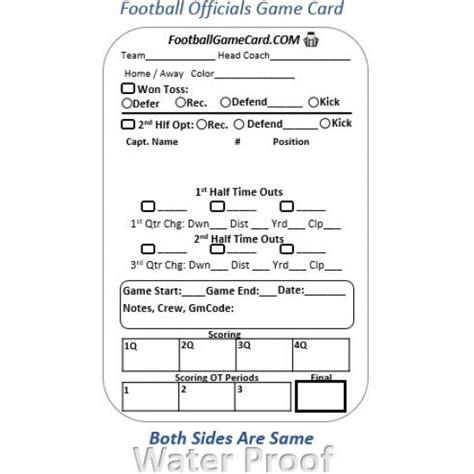 printable football referee card template football officials card reusable football refree
