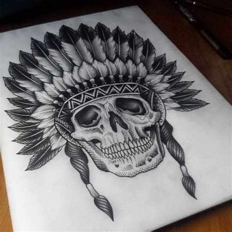 indian skull tattoos etching skull indian best ideas gallery