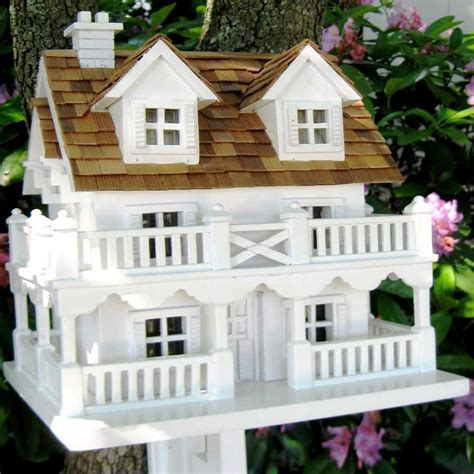 decorative cape cod bird house with bracket yard envy
