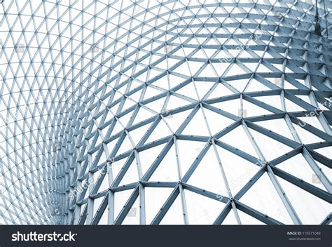 modern building curving roof glass steel stock photo