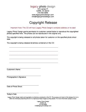 photograph copyright release form forms and templates