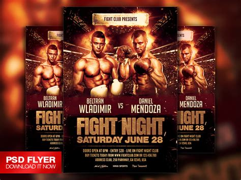 free boxing fight card template fight flyer template psd on behance