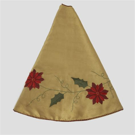 48 quot elegant gold christmas tree skirt with poinsettia trim