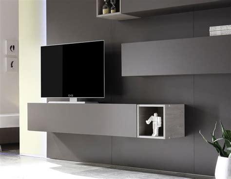 meuble suspendue gris pour mur tv moderne