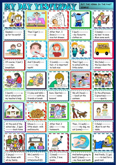 imagenes en ingles weekend my day yesterday past simple and daily routines tefl