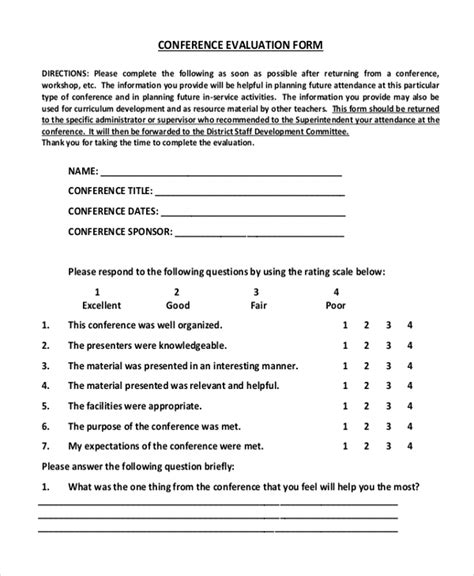 Sle Evaluation Forms 25 Free Documents In Word Pdf Conference Evaluation Form Template