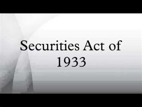 Securities Act Of 1933 Section 4 by Category 1933 In