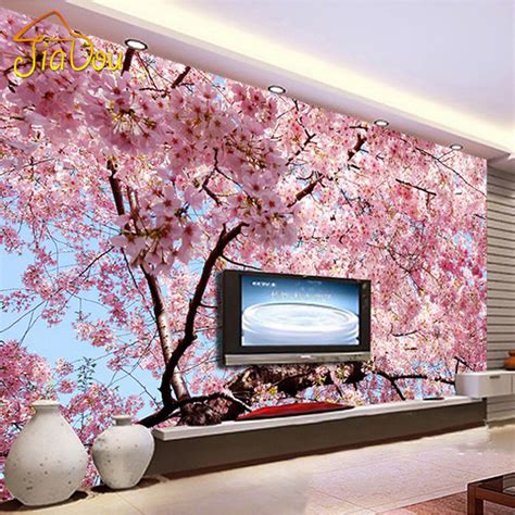 cherry blossom bedroom custom photo wallpaper 3d stereo large murals cherry
