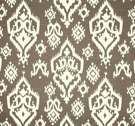 brown white ikat home decor fabric by the yard by