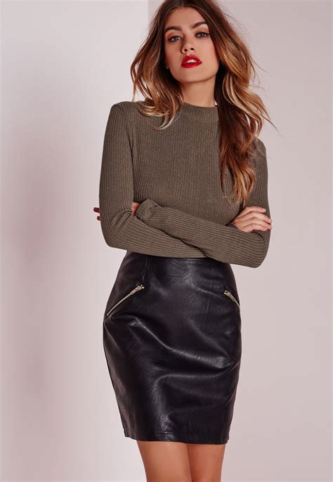 missguided contrast bodycon rib dress faux leather skirt