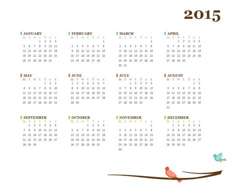 one page 2015 calendar 187 template haven