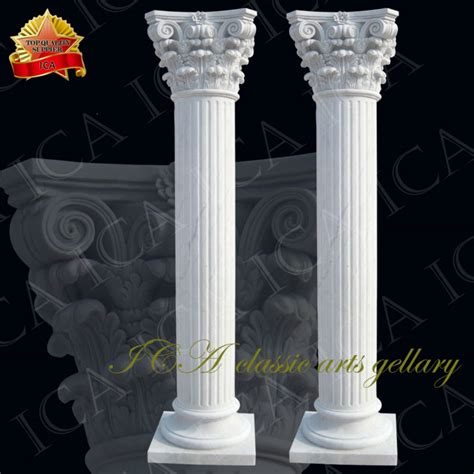 yellow travertin column design home decoration pc0046