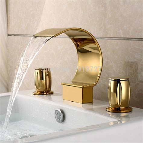 3 hole bathroom sink faucet factory direct luxurious widespread 3 hole waterfall basin