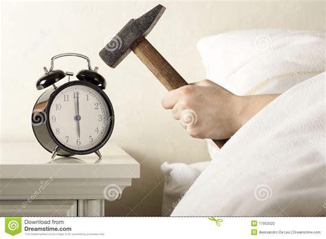 Alarm Clock Bedroom Smashing Alarm Clock With Hammer Stock Photography Image