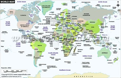 world political map with all countries world map showing all the countries with political