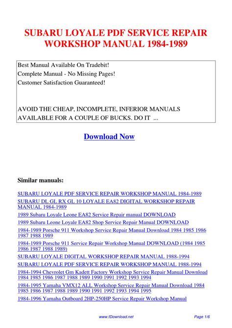 subaru loyale factory service manual bbsgett subaru loyale service repair workshop manual 1984 1989 by gipusi samu issuu