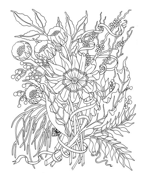 detailed flower coloring picture cfxq