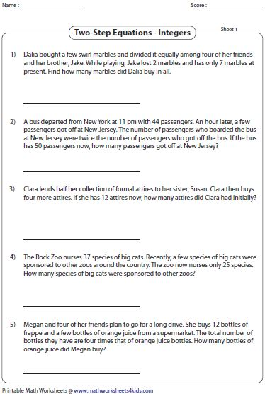 Two Step Equations Integers Worksheet