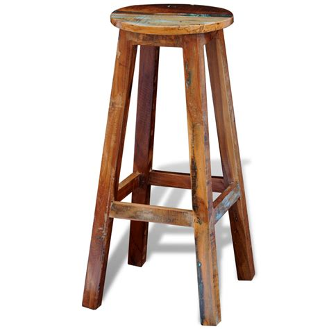 Wooden High Stool Reclaimed Solid Wood High Bar Stool Vidaxl