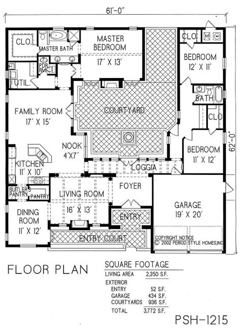 courtyard house plans home decor
