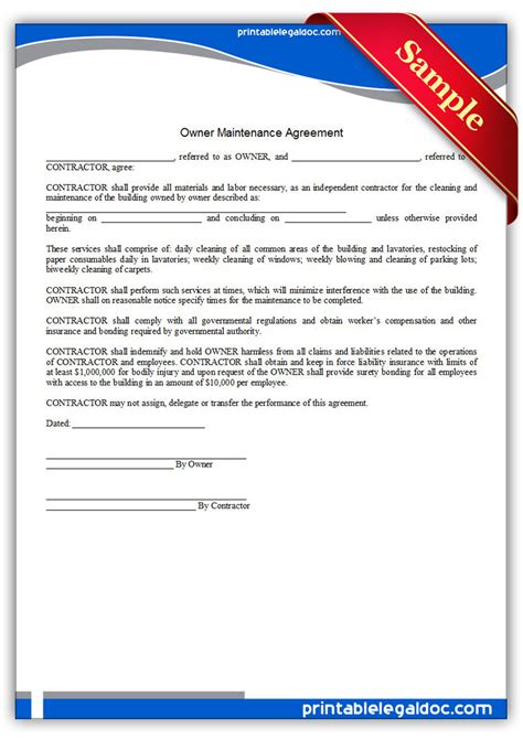 design build and maintain contract free printable building maintenance agreement sle