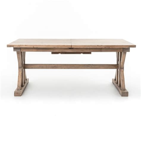 coastal natural wood trestle extension dining table