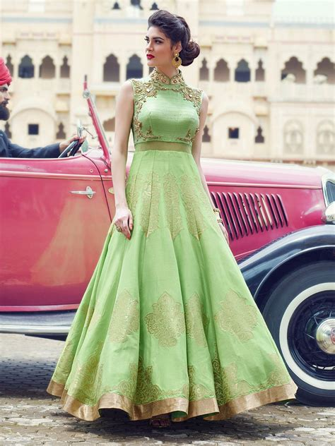 light green raw silk embroidered anarkali suit party