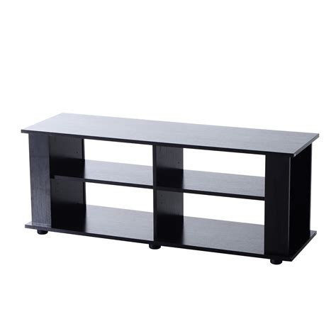 homcom 58 quot modern open shelf tv stand black
