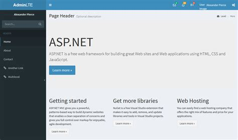 asp net mvc installing adminlte dashboard to replace
