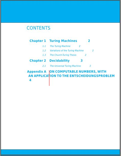 latex tutorial table of contents text alignment issue in custom table of contents tex