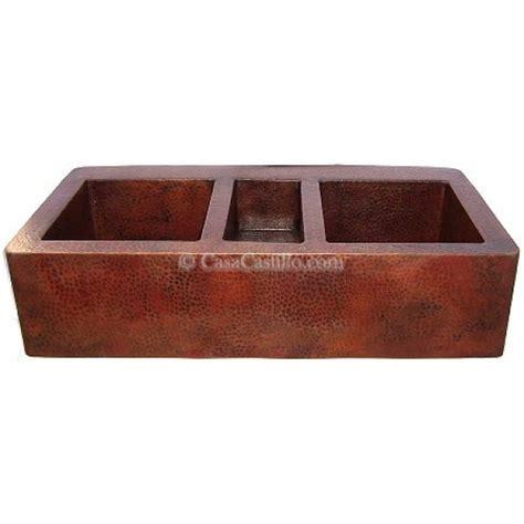 lead free copper sinks copper apron farmhouse sink 3 bowls