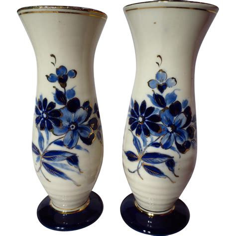 vintage royal dux ringed vase pair delft blue from