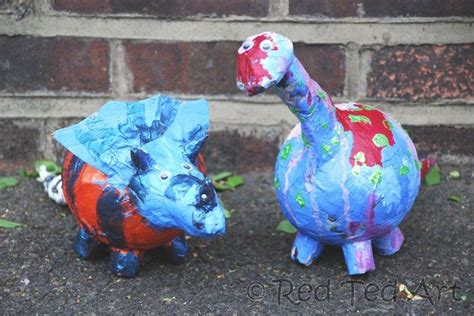 How To Make Paper Mache Dinosaur - crafts paper mache dino bank