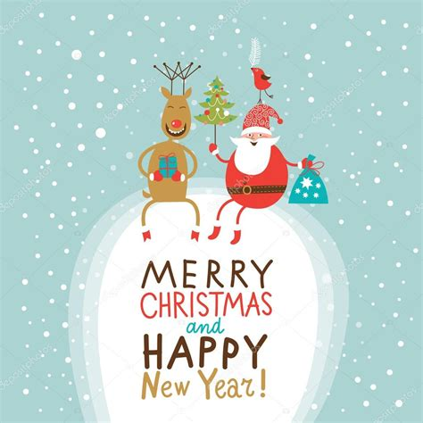 Topi Santa Sinterklas Natal Merry Christmast Happy New Year and new year greeting card santa claus with gifts bag and tree and