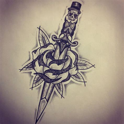 cold roses tattoo new traditional dagger sketch by ranz