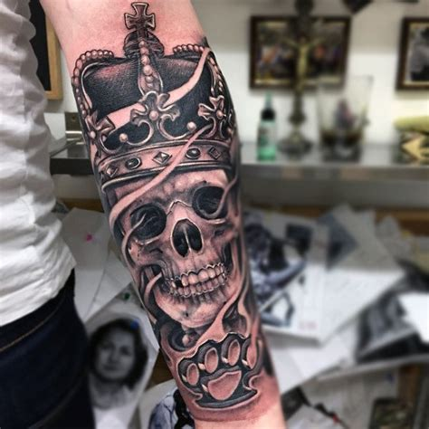 crown skull tattoo designs