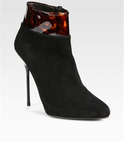 stuart weitzman call patenttrimmed suede ankle boots