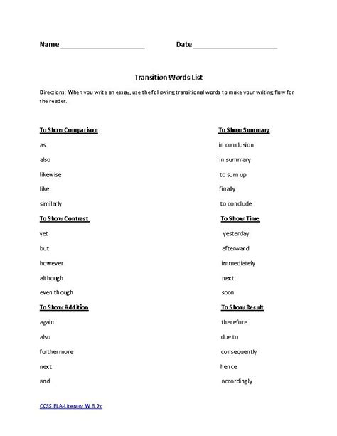 Transition Words Worksheet