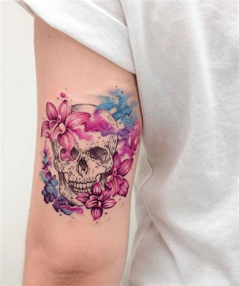 soft tattoo designs astonishing orchids and skull design